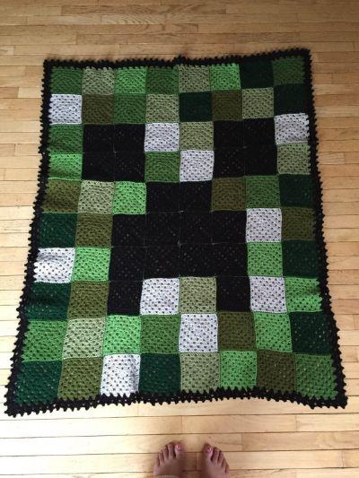 Minecraft Creeper Crocheted Blanket Crochet Knit Pinterest