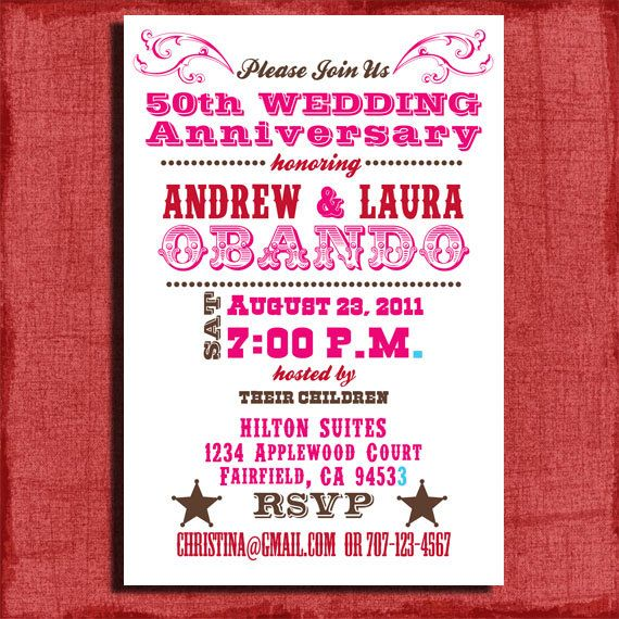 Printable Th Or Th Wedding Western Anniversary Invitation X