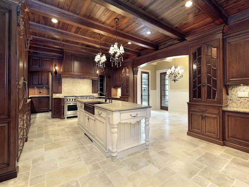 Awesome Luxury Flooring Ideas #1: Kitchen With Tile Floor Classy With Luxury Ceramic Tile Flooring Ideas For  Wood Surrounding Kitchen Wall