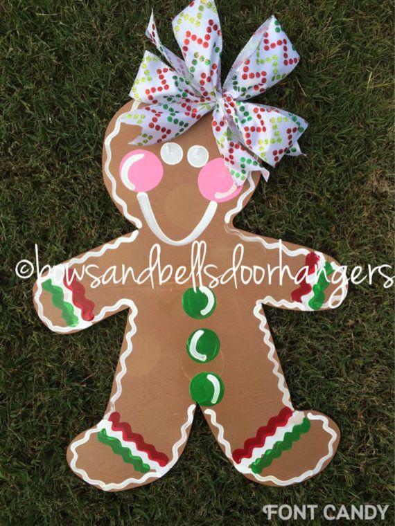 Christmas door hanger gingerbread man wreath Christmas door hanger winter wreath by BowsandBellsHangers on Etsy