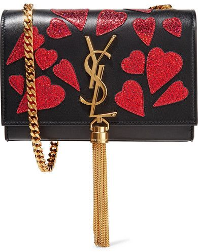 c89e68addfc3 Saint Laurent - Monogramme Kate Small Appliquéd Leather Shoulder Bag - Black