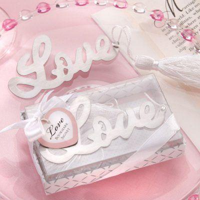 Love Silver Bookmark Favor
