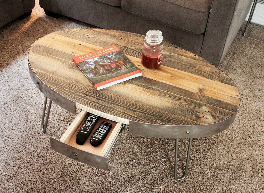 Reclaimed Wood Oval Coffee Table With Hidden