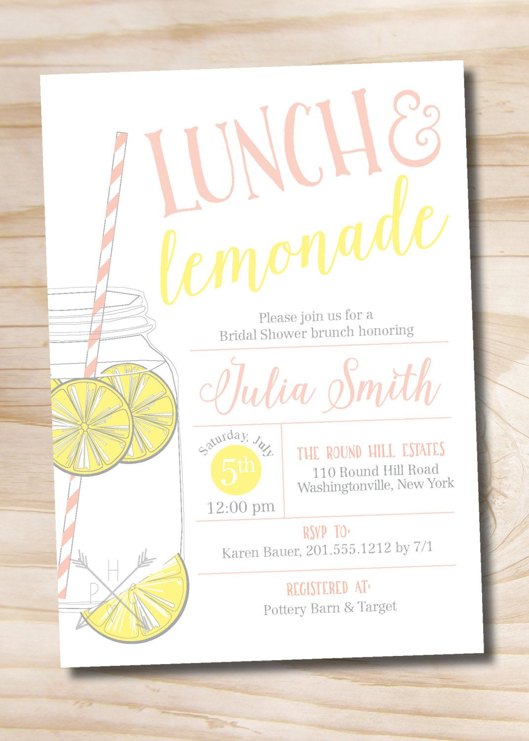lunch and lemonade mason jar bridal shower invitation casual bridal shower invitation digital or printed invitation by paperheartcompany on etsy