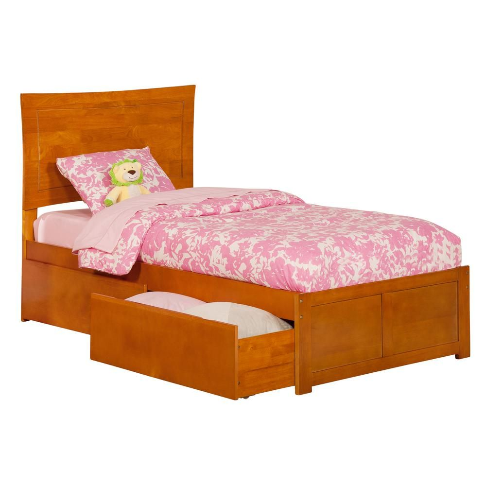 Atlantic Furniture Metro Caramel Twin Platform Bed With Flat Panel Foot Board And 2 Urban Bed Drawers Atlantic Furniture Twin Platform Bed Bed With Drawers