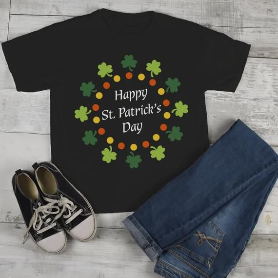 64f0abef0 Kids St. Patrick's Day T-Shirt Happy St. Patrick's Day Shirt Wreath Shirt  Toddler Clovers Cute Graphic Tee