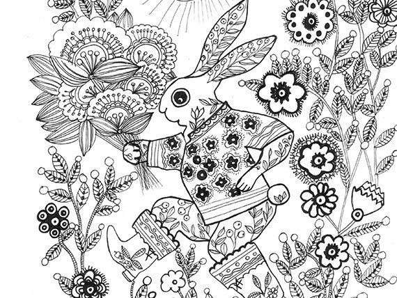 Adult Coloring Page March Hare Printable Adult by Marikohandmade