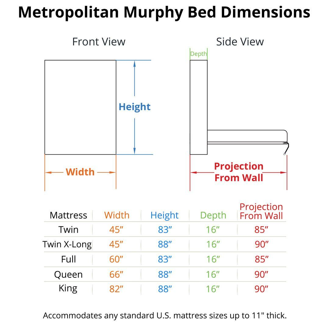 Metropolitan Murphy Bed Home Beds Pinterest Sizes Diagram Dimensions Couch Sofa