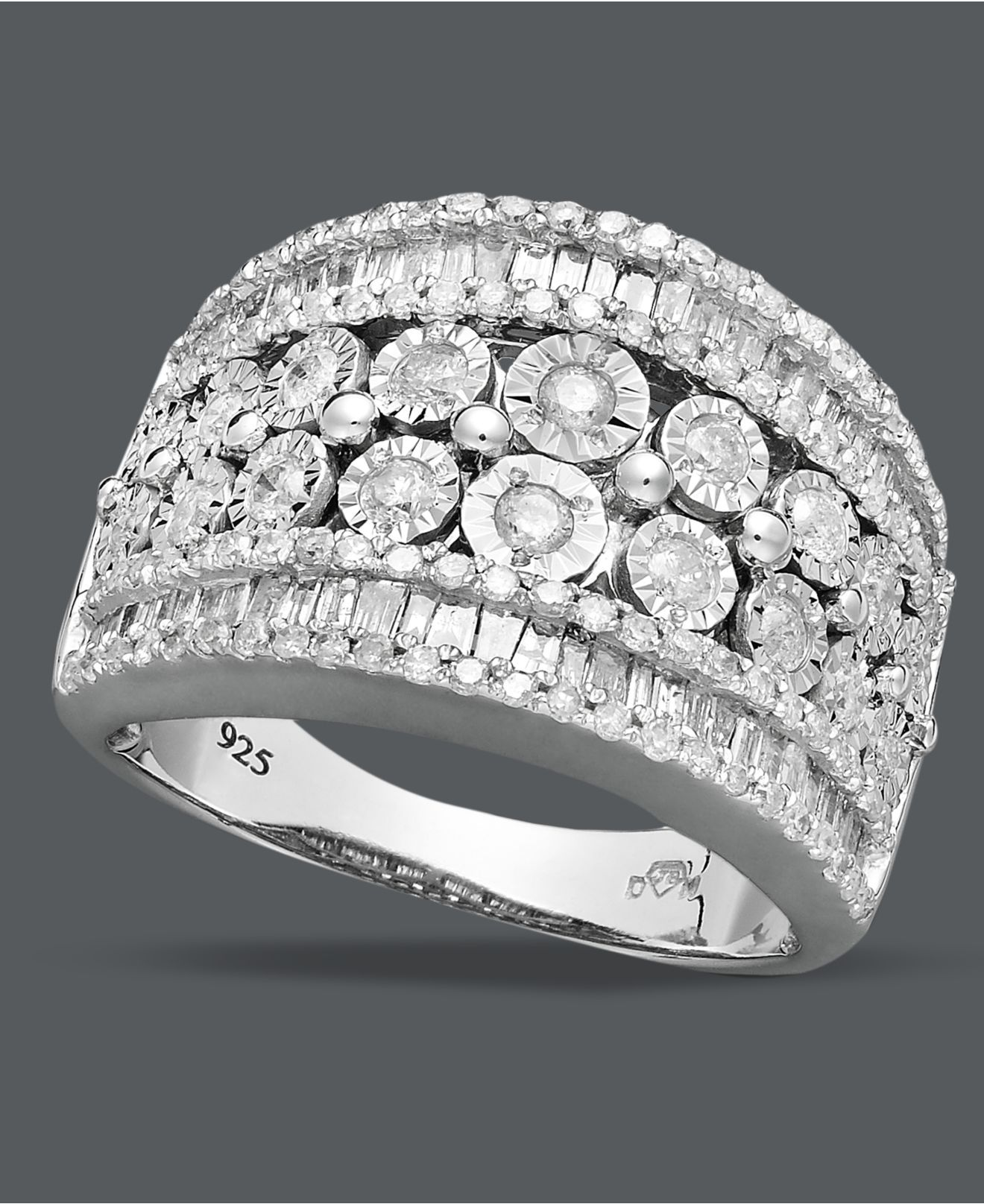 b403dc7fe Diamond Ring, Sterling Silver Diamond Band (1-1/4 ct. t.w.) at Macy's  12hundred