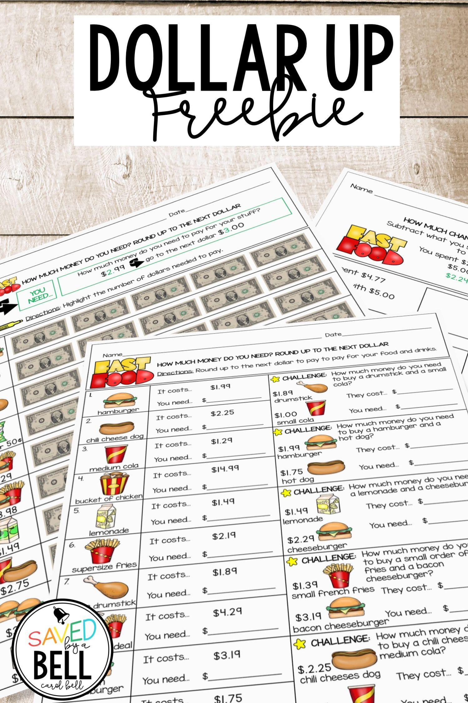 Next Dollar Up And Subtract For Change A Menu Math Freebie