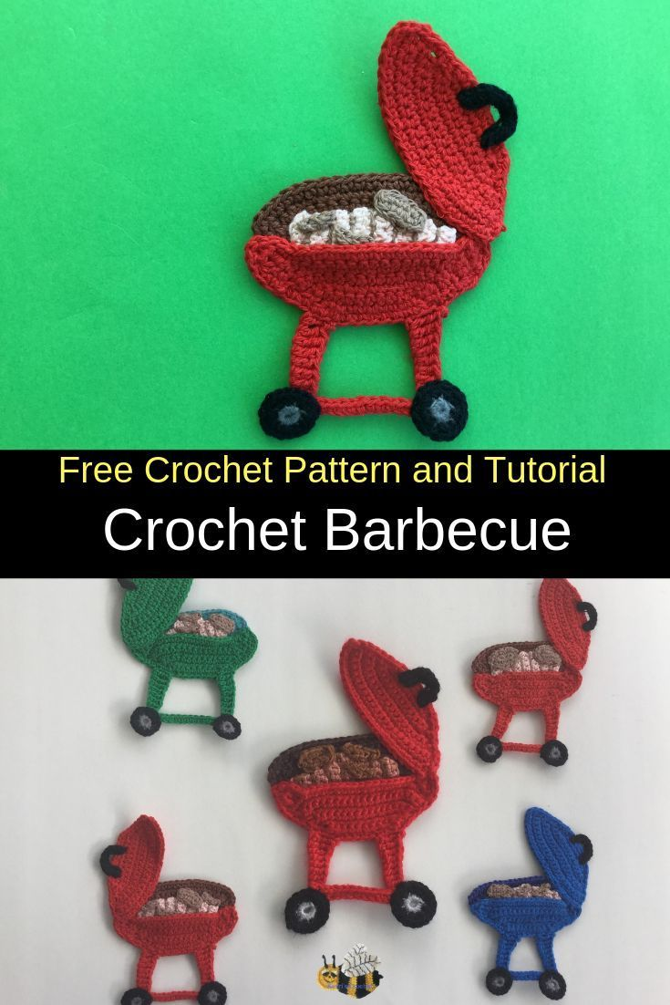 Get this free crochet pattern of a crochet barbecue applique. #crochetapplicates