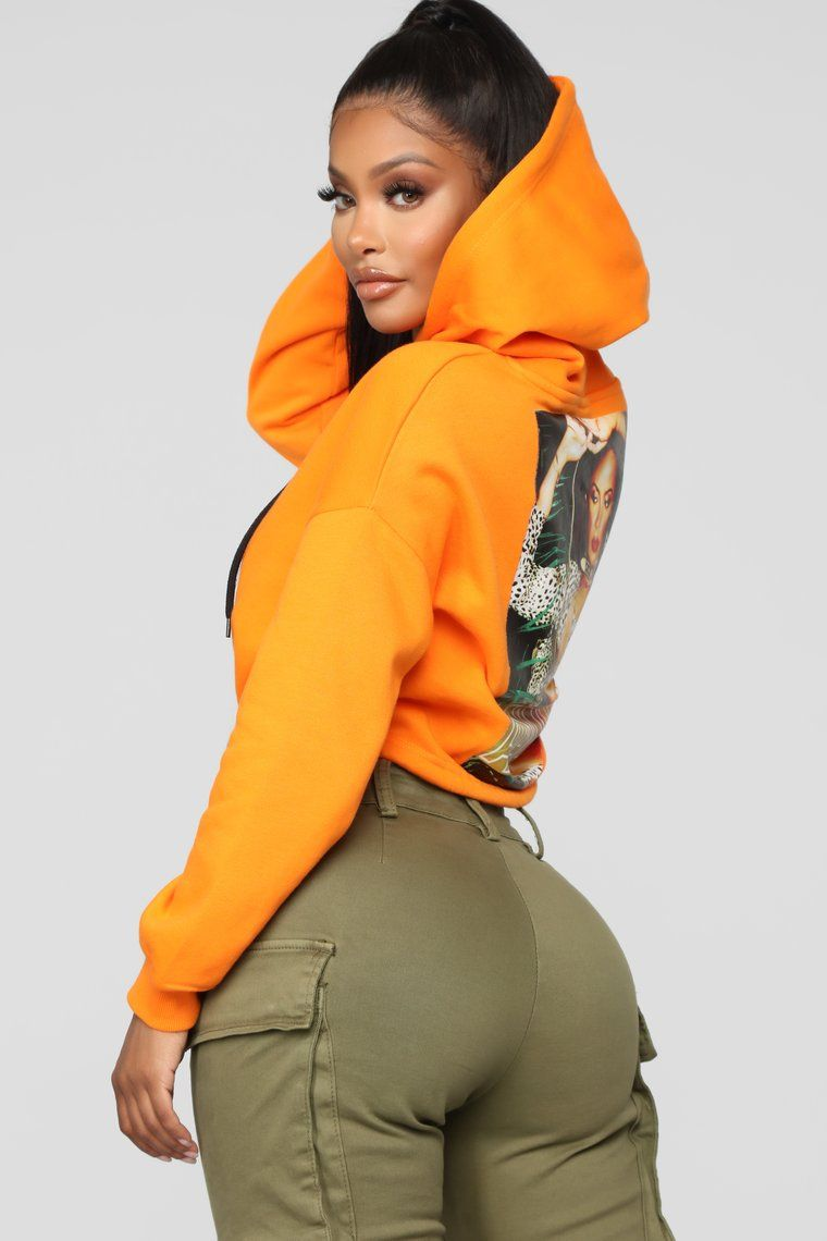 6509b5a5c08 Aaliyah Cropped Hoodie - Orange | Cute fits in 2019 | Cropped hoodie ...
