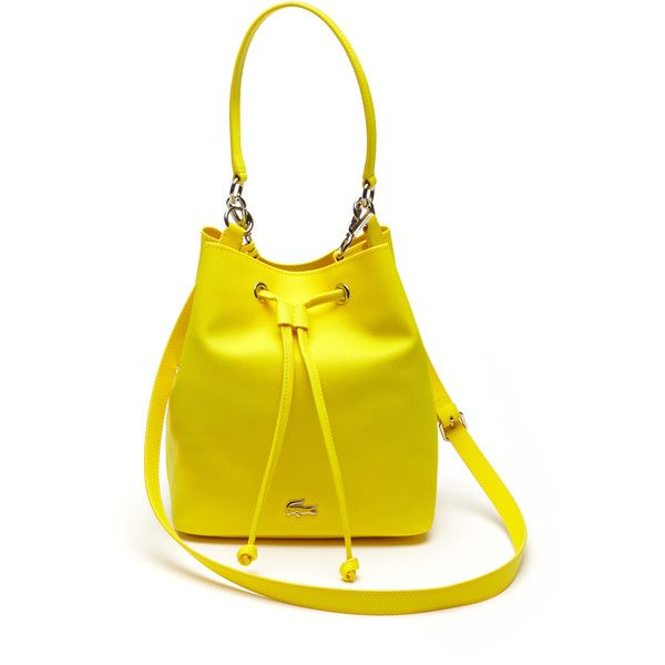 7e1b6beaba Yellow Women's Daily Classic Fine Piqué Grains Bucket Bag ($82) ❤ liked on  Polyvore featuring bags, handbags, lacoste purse, lacoste bags, lacoste,  bucket ...