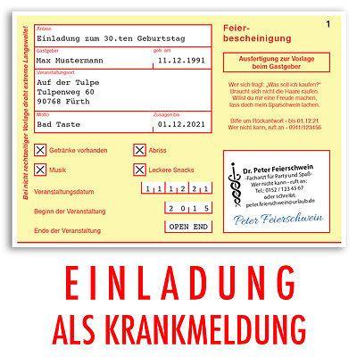 einladungen geburtstag krankschreibung krankmeldung, Einladung