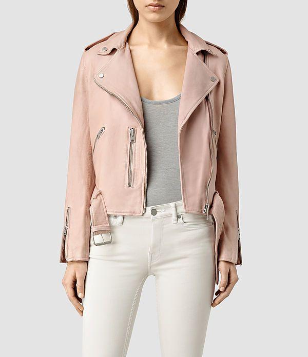 Donne Wyatt Leather Biker Jacket (BLUSH PINK) -