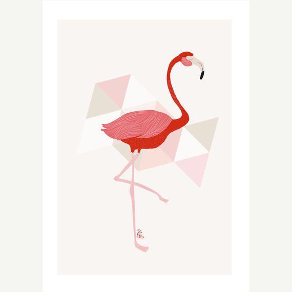 impression flamant rose affiche illustration a4. Black Bedroom Furniture Sets. Home Design Ideas