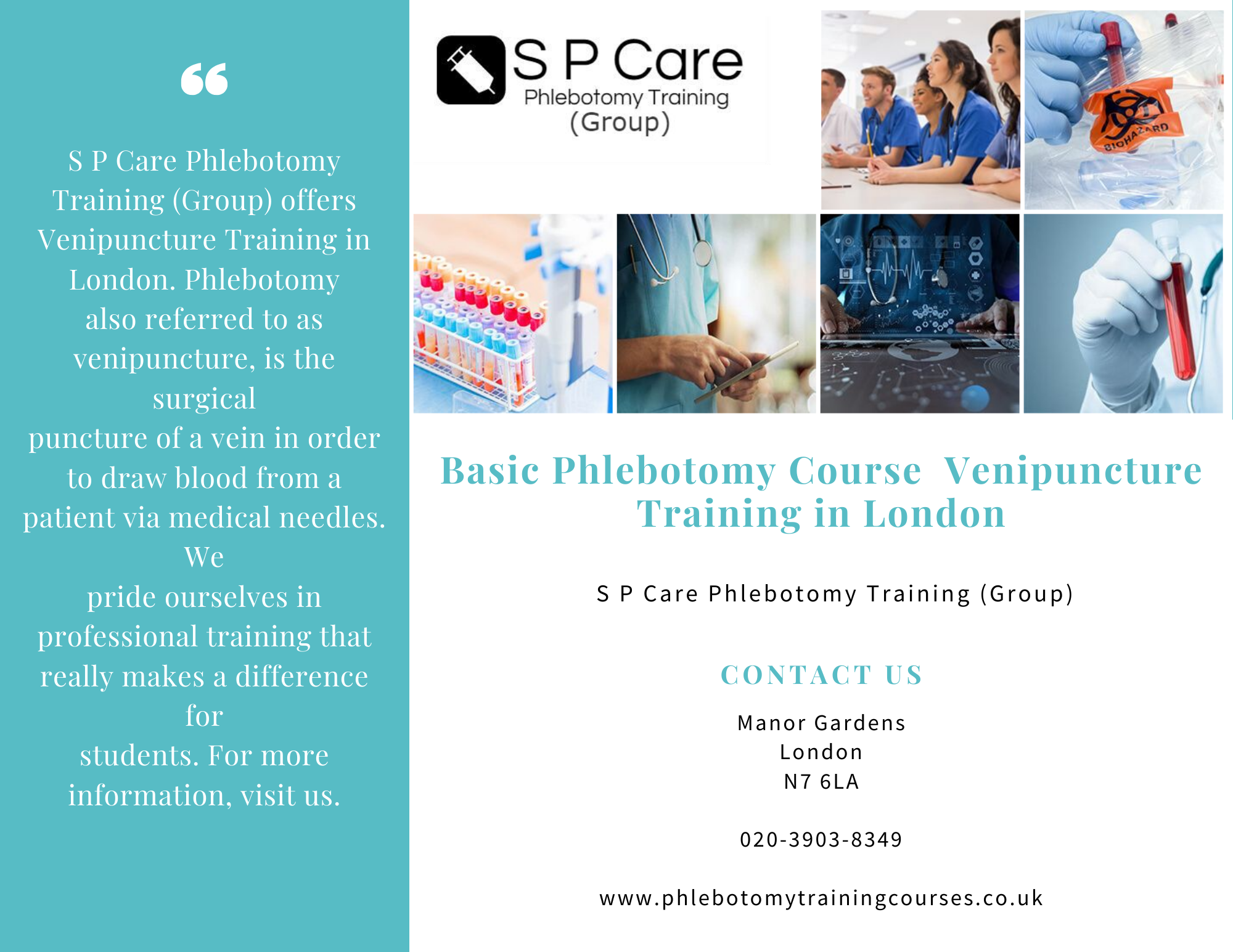 S P Care Phlebotomy Training Group Offers Venipuncture