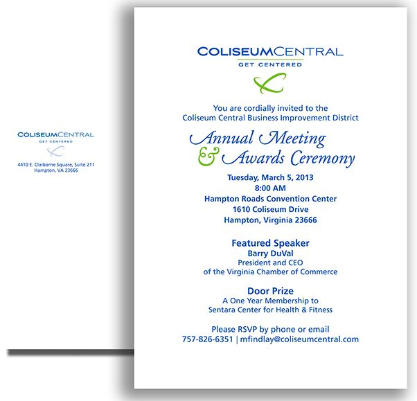 Annual Meeting and Awards Ceremony invitation and return envelope - formal invitation to a meeting