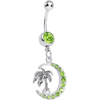 Green Gem Palm Tree And Moon Dangle Belly Ring Body Candy Body