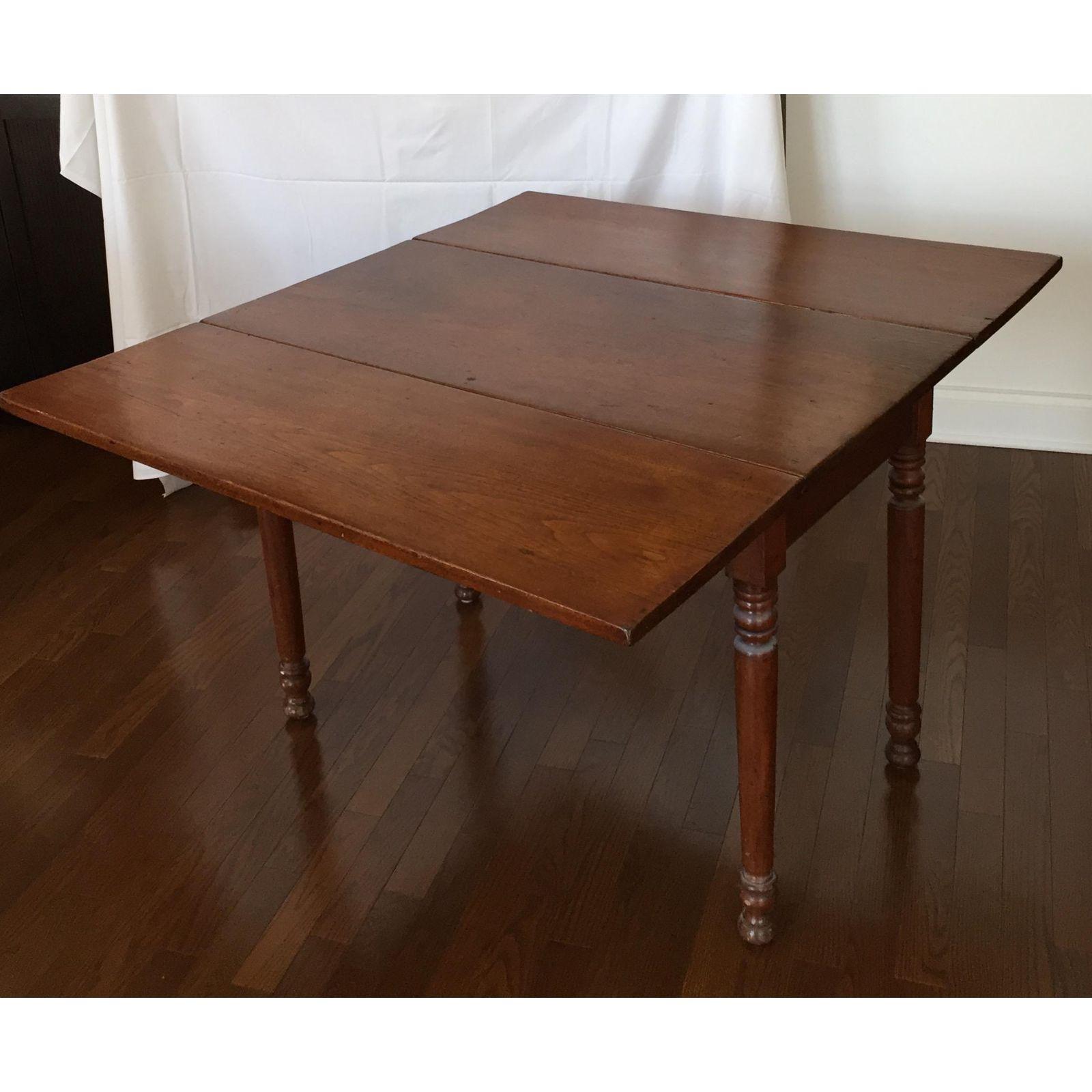 Antique Black Walnut Drop Leaf Dining Table Vintage Industrial