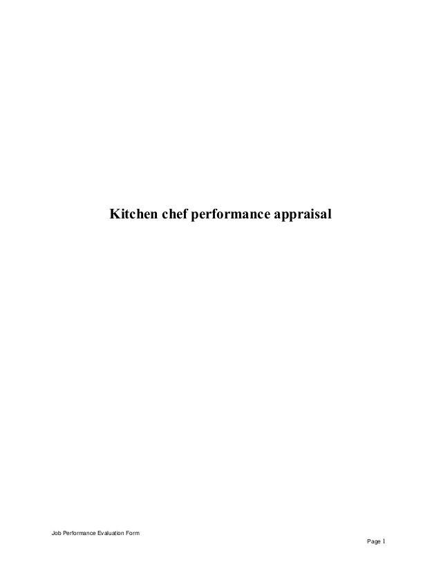 Kitchen Chef Performance Appraisal Job Performance Evaluation Form