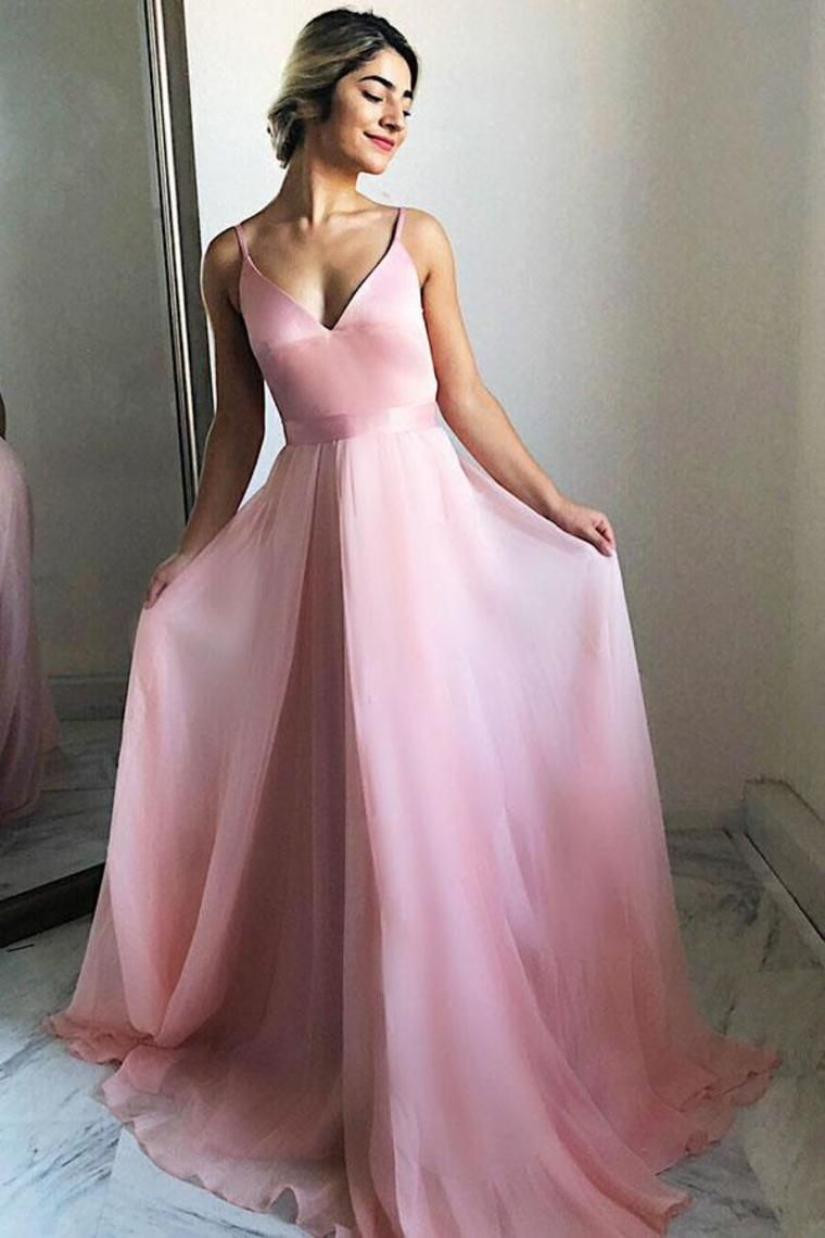 434e60552cd36 Spaghetti Straps Long V-Neck Simple Flowy Pink Prom Dresses Prom Gowns   pinkpromdresses  promgowns  promdresseslong