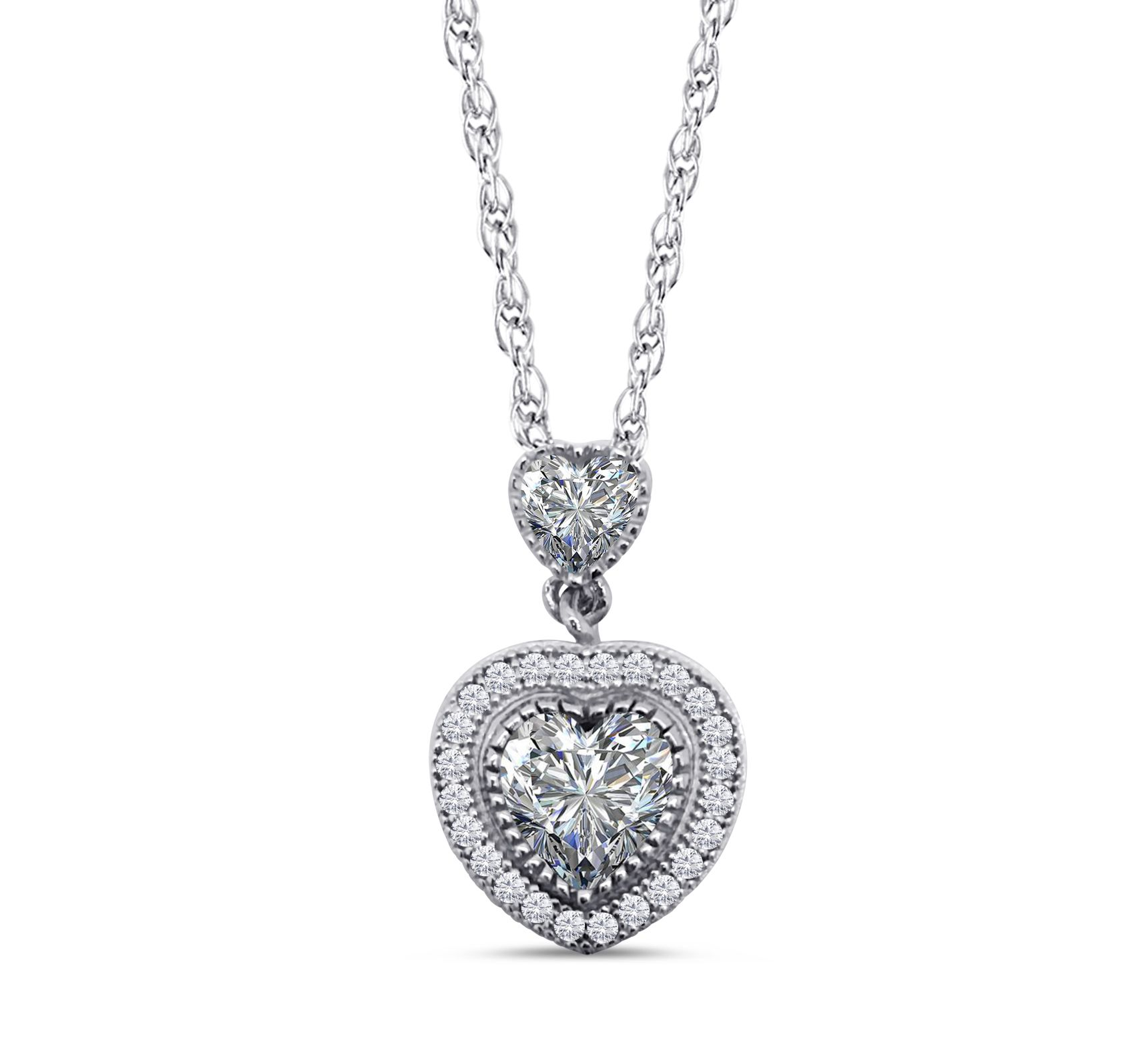 Dizeo heart necklace made in sterling silver with 18K gold overlay, set with lab created diamonds. Available at Crews Jewelry!