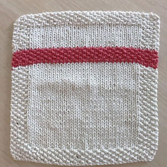 Seed Stitch Stripe Knitted Dishcloth Pattern, Knit Dishcloth Pattern ...