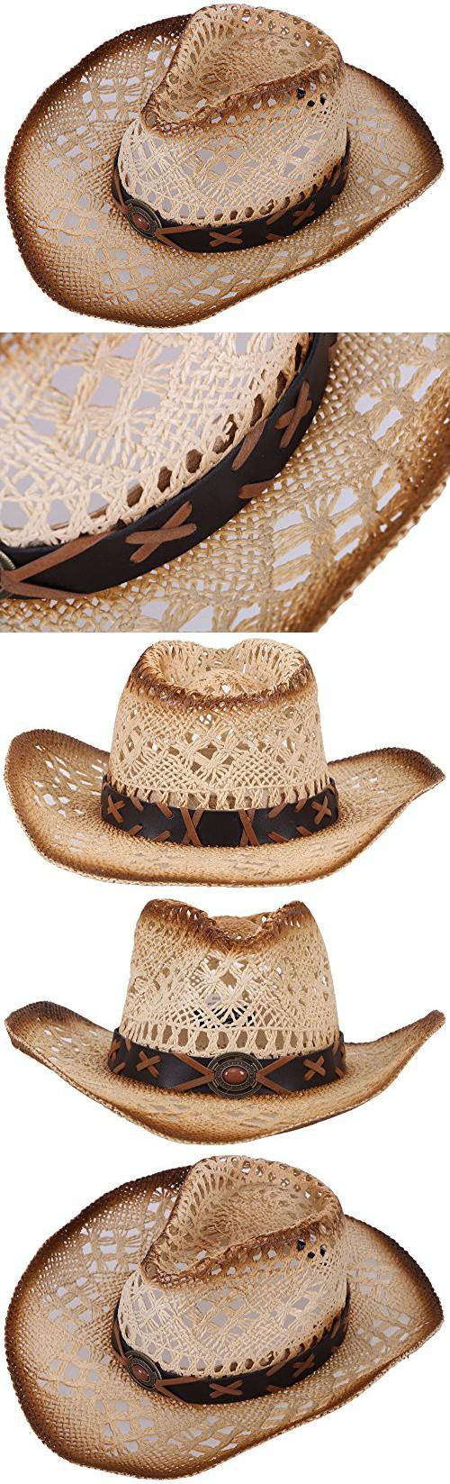 c0573ea91ec Simplicity Western Men   Women Cowboy Straw Hat Natural Brown Bead ...