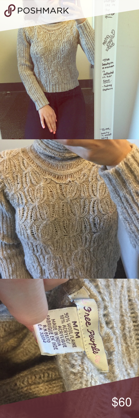 FREE PEOPLE WOOL SWEATER IN MEDIUM This sweater has been worn twice and is in excellent condition. It's perfect for the winter time as it is extremely warm an will keep you nice and toasty in the cold :). It has incredible detailing as seen in the picture. A true staple in anyone's closet. Comment with questions!!!! 🤗 Free People Sweaters Cowl & Turtlenecks