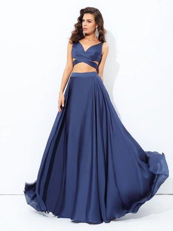 649f3c4d8cea A-line Princess Straps Sleeveless Floor-Length Satin Chiffon Dresses ...