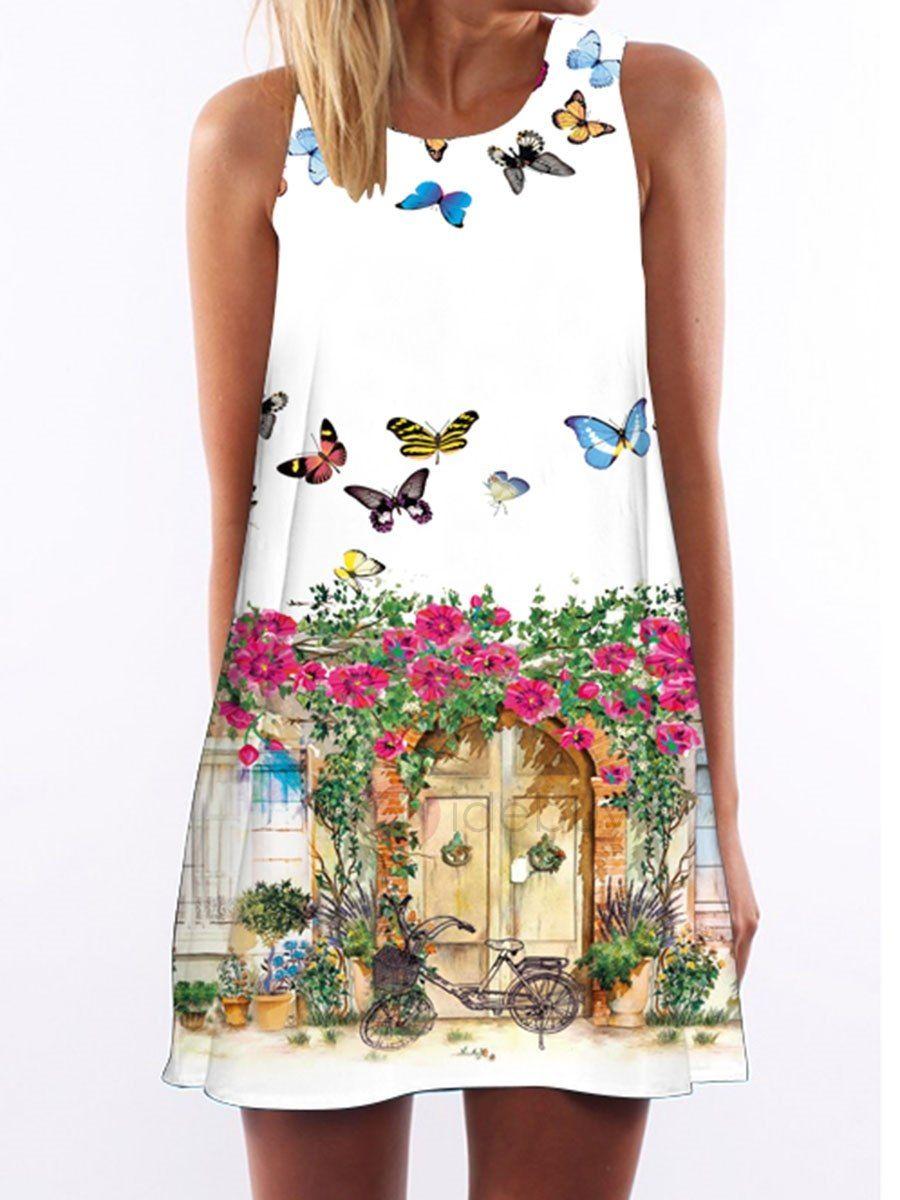Vestido Corto Estampado Dibujo Mariposa  b49d1a98606d