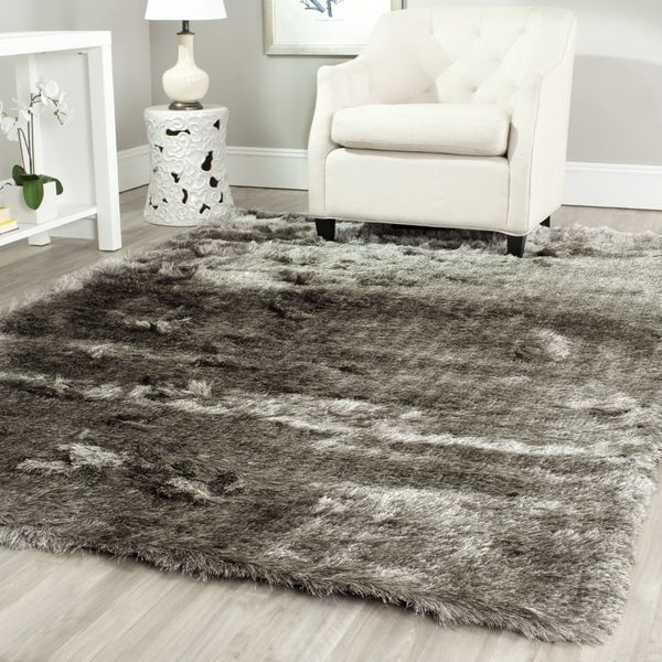 Safavieh Silken Silver Shag Rug (11' x 15') - Overstock Shopping - Top Rated Safavieh Oversized Rugs