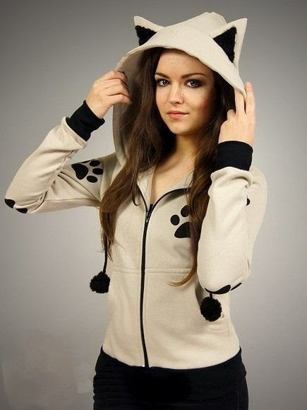 Kitty Gothique Capuche Chat Cutting Sweat Kawaii Veste Oreilles nv4xAZX