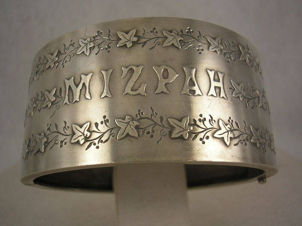 Antique Victorian Wide 'Mizpah' Silver Cuff Bangle - I've never seen a bracelet like this before.