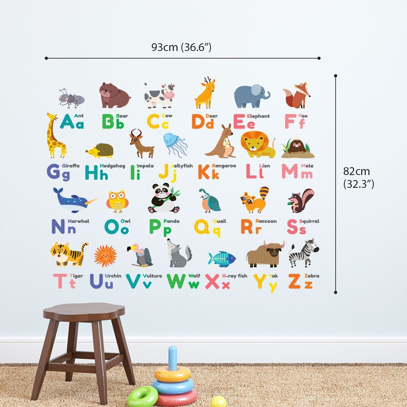Decowall DW-1614 Colourful Animal Alphabet Wall Stickers KIDS Removable