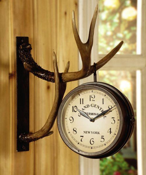 Deer Park Antler Wall Clock Two Sided Metal Rustic Cabin Lodge ...