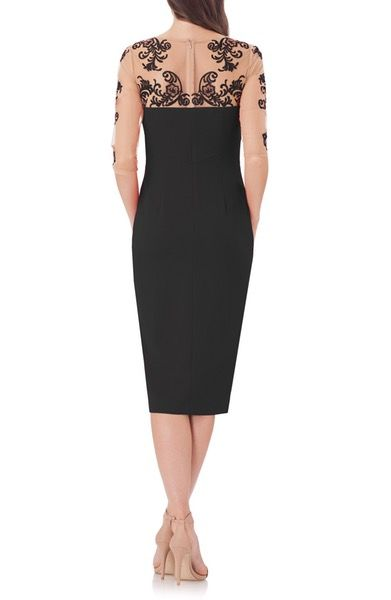 Main Image - JS Collections Crepe Midi Dress with Tattoo Embroidery