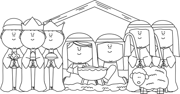 Black and White Nativity with Shepherds and Wise Men | Christmas art projects, Christmas poems ...