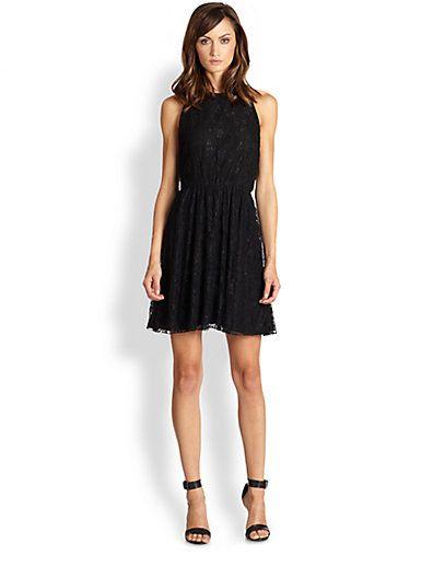 Alice + Olivia - Leather-Trim Lace Racerback Dress - Saks.com