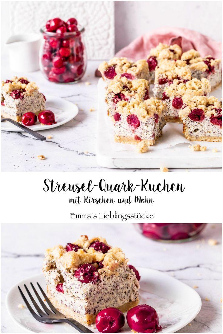 Streusel Quark Kuchen Mit Mohn Und Kirschen Rezept Kuchen Mit Kirschen