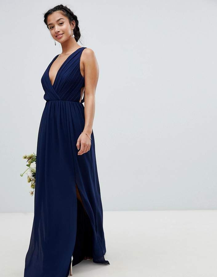 98d2cf64d0 TFNC Petite Pleated Maxi Bridesmaid Dress With Back Detail #Pleated#Petite# TFNC