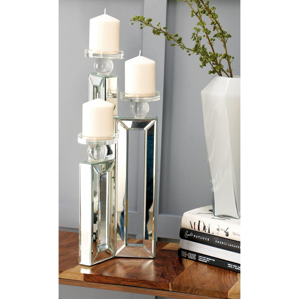 My Home Set of 3 Glass Tea Light Holder with Crystal