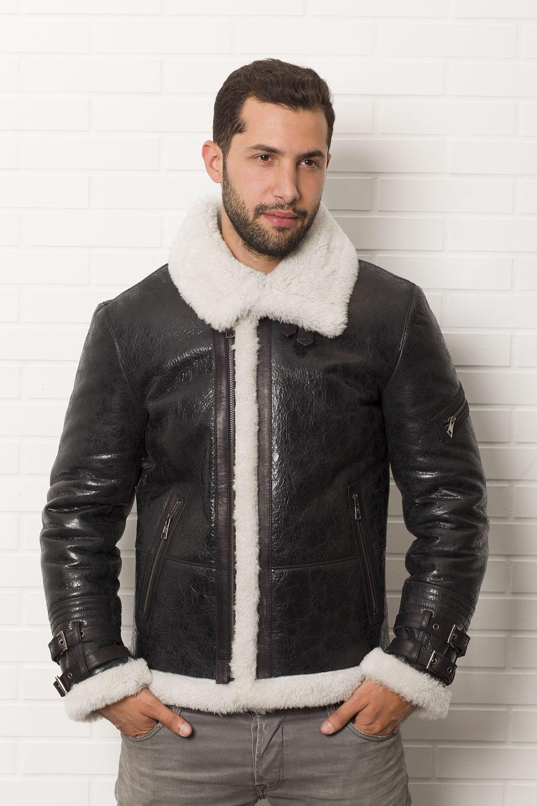 Ref3633 lainée LWEPeau lainée peau Blouson Homme noir 29IDHYWE
