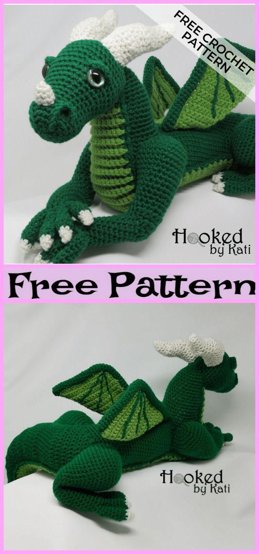 Cute Crochet Dragon Amigurumi - Free Patterns #muñecosdeganchillo