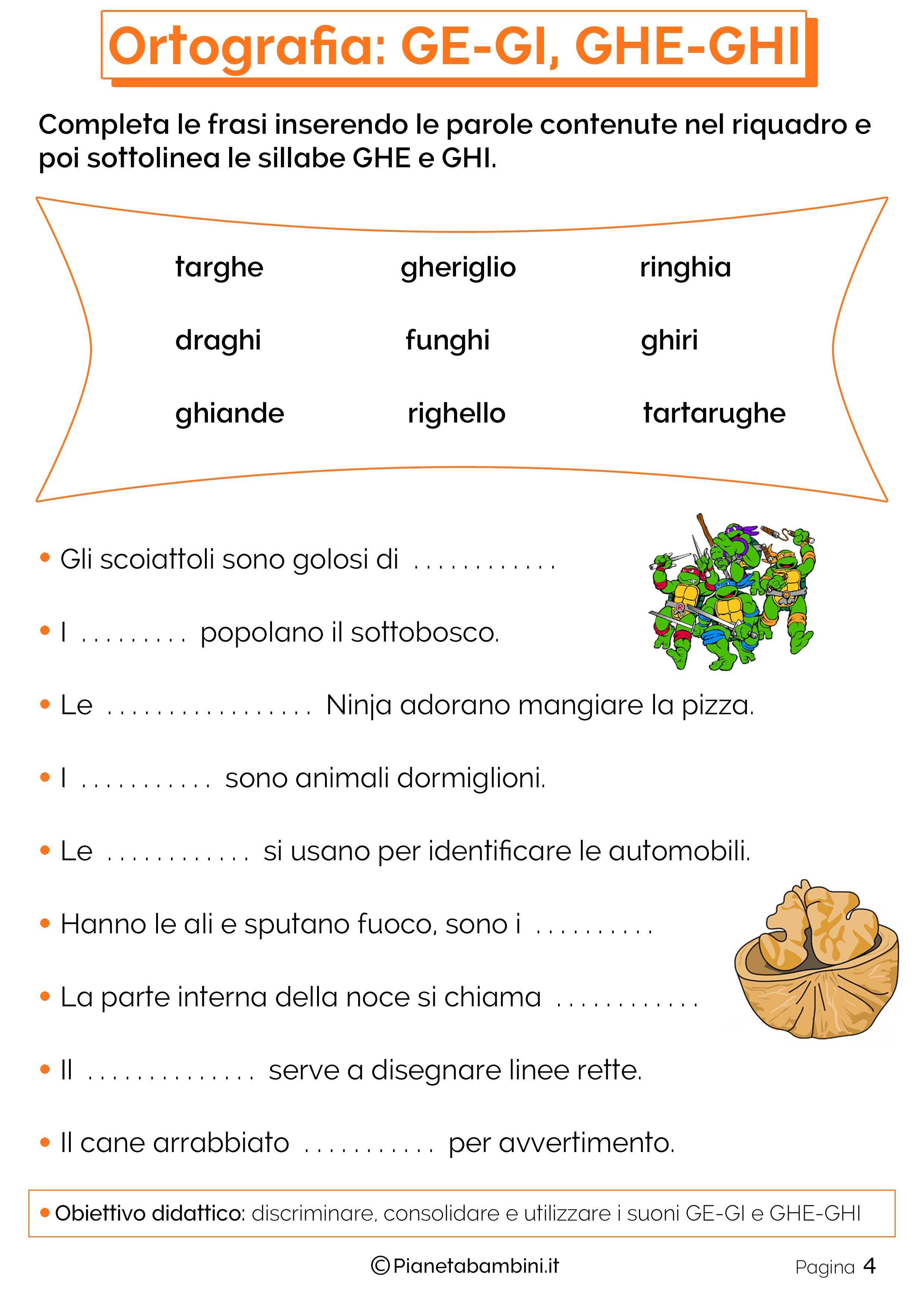 Schede didattiche su ge gi e ghe ghi da stampare italiano schede didattiche schede e for Parole con gi