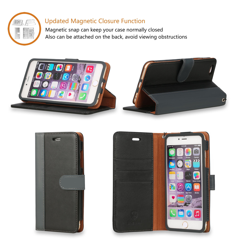 san francisco a2b65 09e64 SHIELDON Genuine Leather Wallet Case for iPhone 6 / 6 Plus, 100 ...