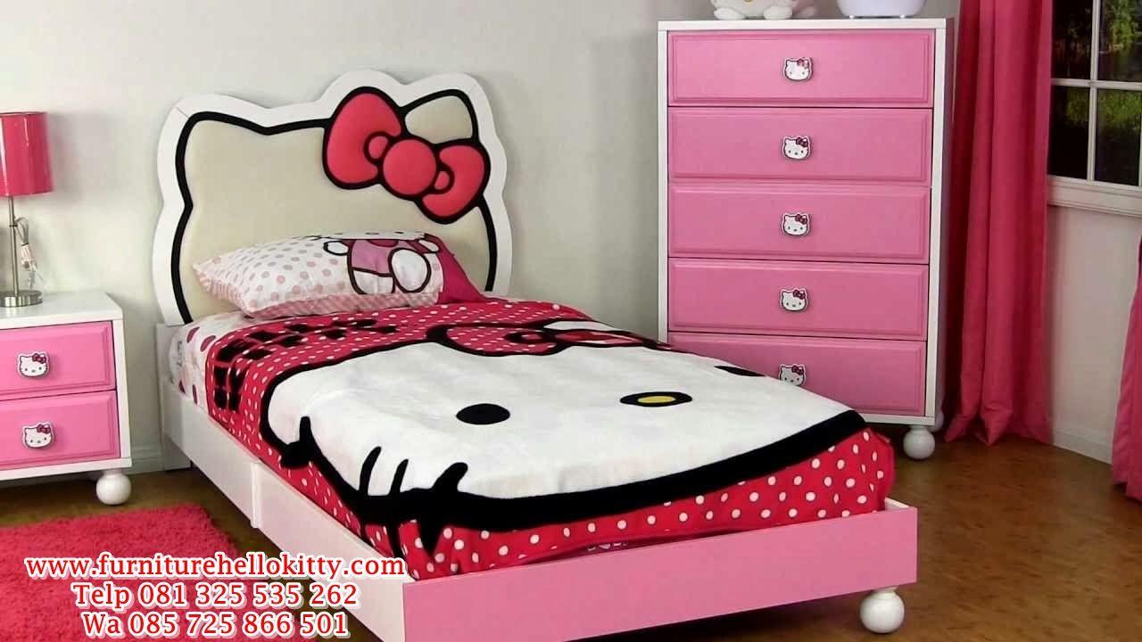 desain tempat tidur hello kitty, bentuk set kamar tidur hello