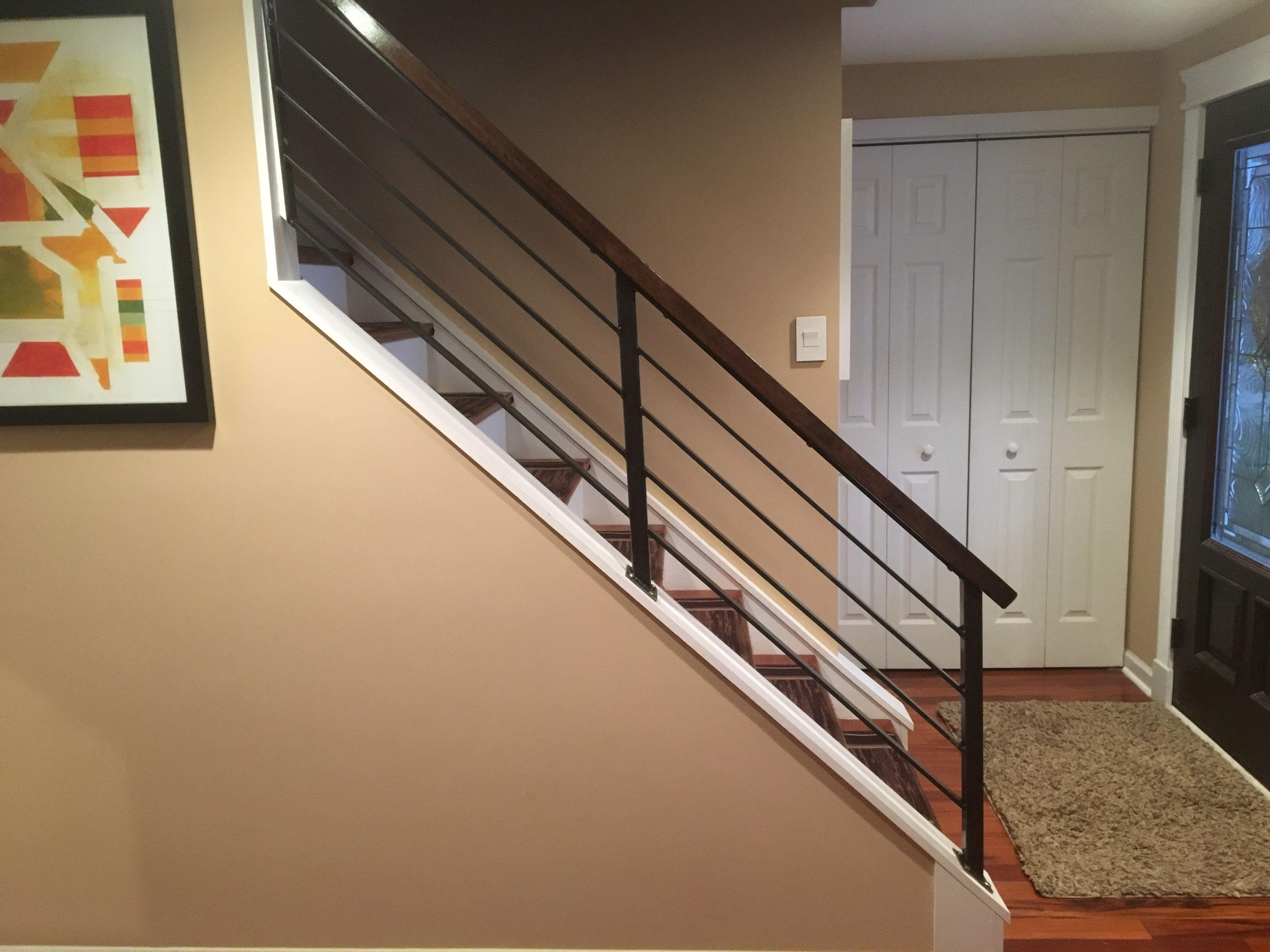 Custom Made Horizontal Slat Railing Indoor Stair Railing   Horizontal Iron Stair Railing   Chris Loves   Modern   Popular   Low Cost   Remodel