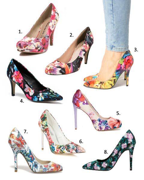 Chaussure A Talon Fleurie